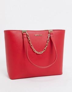 Красная большая сумка-тоут с цепочкой Love Moschino-Красный