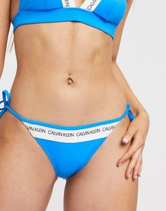 Голубые трусы бикини с завязками по бокам Calvin Klein-Синий