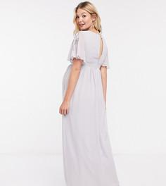 Серое декорированное платье макси Little Mistress Maternity-Серый