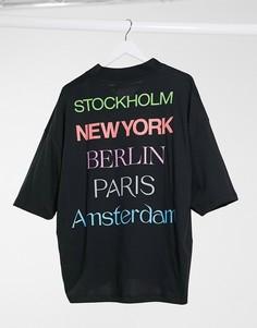 Черная oversized-футболка с V-образным вырезом и принтом ASOS DESIGN-Черный
