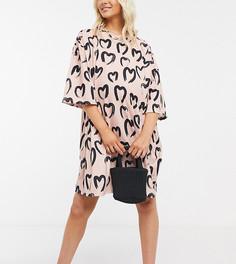 Кремово-черное платье-футболка с принтом ASOS DESIGN Maternity-Кремовый