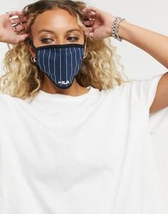 Темно-синяя маска для лица в полоску Fila-Темно-синий