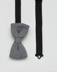 Трикотажный галстук-бабочка в полоску 7X-Черный
