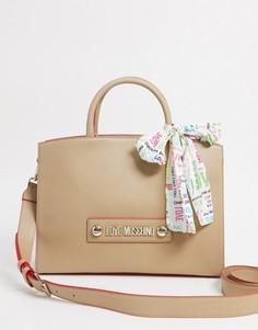 Бежевая сумка-тоут с шарфом Love Moschino-Кремовый