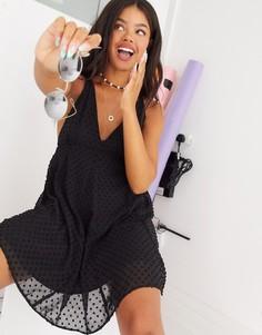 Платье мини А-силуэта в горошекASOS DESIGN-Черный