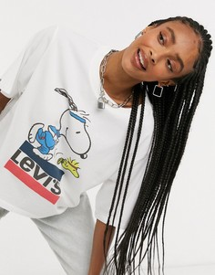 Белаясвободная футболка с принтом Levis x Peanuts-Белый