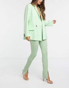 Шалфейно-зеленые строгие брюки с завышенной талией Flounce London Club-Зеленый цвет