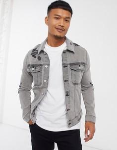 Серая облегающая джинсовая куртка с рваной отделкой ASOS DESIGN-Серый