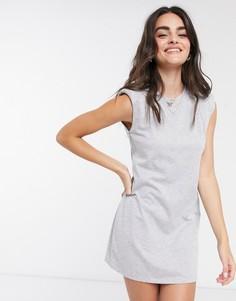 Серое платье с подплечниками Stradivarius-Серый