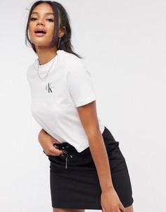 Белый кроп-топ с логотипом Calvin Klein