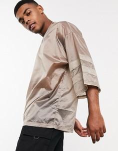 Бежевая длинная oversized-футболка с широкими рукавами 3/4 от ASOS DESIGN-Зеленый