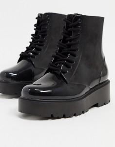 Черные резиновые сапоги на шнуровке ASOS DESIGN-Черный
