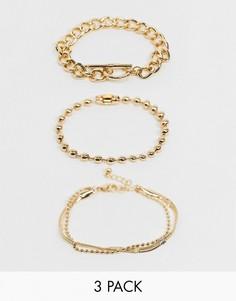 Набор из3 золотистых браслетов (с Т-образной планкой/шариковой цепочкой)ASOS DESIGN-Золотой