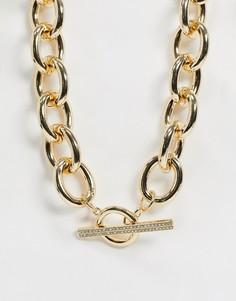 Ожерелье с Т-образным дизайном ASOS DESIGN-Золотой