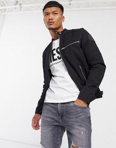 Черная нейлоновая байкерская куртка Diesel-Черный