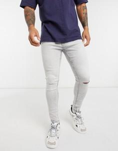 Супероблегающие джинсы с рваными коленямиBershka-Серый