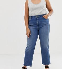 Выбеленные прямые джинсы с завышенной талией ASOS DESIGN Curve-Синий