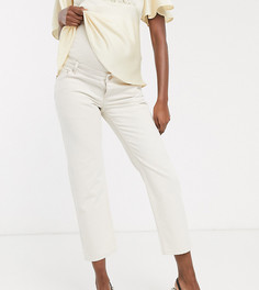 Прямые джинсы с классической талией и вставкой для живота ASOS DESIGN Maternity-Кремовый