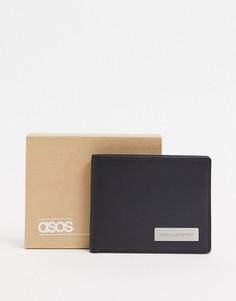Черный кожаный бумажник с фирменной металлической пластинкой ASOS Unrvlld Supply