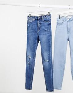 Синие джинсы скинни с завышенной талией Stradivarius-Синий