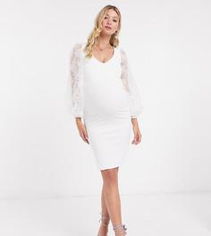 Белое облегающее платье с объемными рукавами из органзы Queen Bee Maternity-Белый