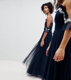 Платье макси из тюля с открытыми плечами и пайетками Maya-Темно-синий
