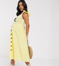Желтый сарафан миди на пуговицах с вышивкой ришелье ASOS DESIGN Maternity