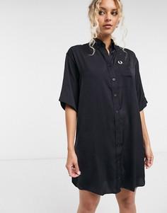 Платье-рубашка в стиле oversized темно-синего цвета Fred Perry-Темно-синий