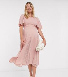 Платьемидис кружевными вставкамиASOS DESIGN Maternity-Розовый
