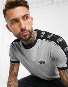 Серая футболка с логотипом на рукаве Jack & Jones Core-Серый