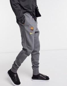 Серые флисовые джоггеры Nike Football FC Barcelona-Серый