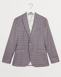 Приталенный пиджак в розовую клетку Topman-Розовый