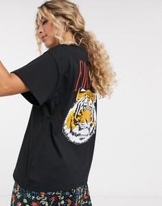 Oversized-футболка с принтом ASOS DESIGN-Черный