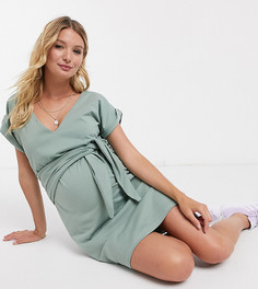 Шалфейно-зеленое платье мини с завязкой и V-образным вырезом ASOS DESIGN Maternity Nursing-Зеленый