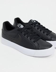 Черные кроссовки с белыми вставками Nike court royale-Синий