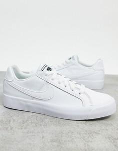 Белые кроссовки с черными вставками Nike Court Royale AC-Синий