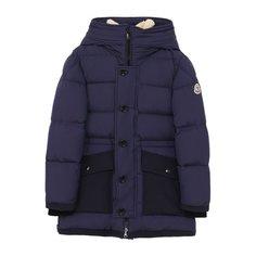 Пуховая куртка с текстильной отделкой и капюшоном Moncler Enfant