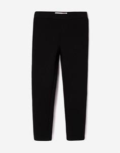 Чёрные утеплённые брюки с высокой талией для девочки Gloria Jeans
