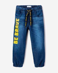Утеплённые джинсы-джоггеры с надписью для мальчика Gloria Jeans