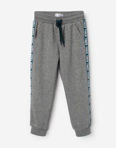 Серые брюки-джоггеры с лампасами для мальчика Gloria Jeans