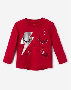 Красный лонгслив с принтом для малышки Gloria Jeans
