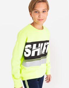 Неоновый свитшот oversize со светоотражающим принтом для мальчика Gloria Jeans