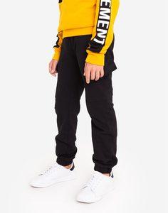 Чёрные брюк-карго с карманами для мальчика Gloria Jeans