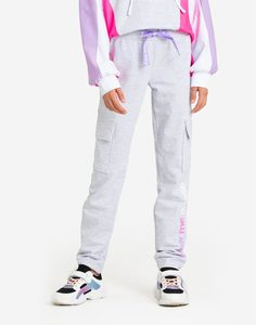 Серые спортивные брюки-карго для девочки Gloria Jeans