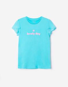 Голубая футболка с блестящей надписью для девочки Gloria Jeans
