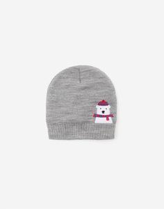 Серая шапка с медвежонком для мальчика Gloria Jeans