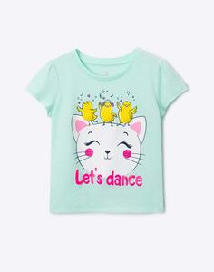 Мятная футболка с рисунком для девочки Gloria Jeans