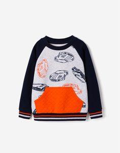 Свитшот с принтом и карманом-кенгуру для мальчика Gloria Jeans