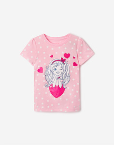 Розовая футболка с принтом для девочки Gloria Jeans