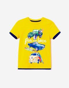 Жёлтая футболка с принтом для мальчика Gloria Jeans